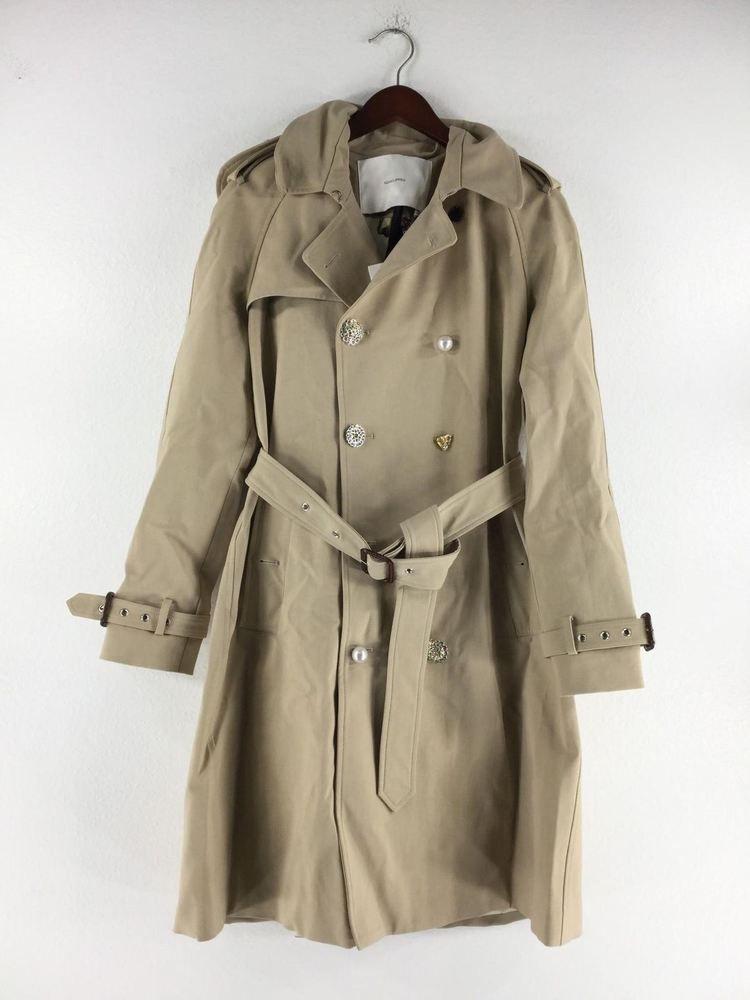 b27c22f435a8f 1111C NEW Adam Lippes Khaki Embellished Button Trench Coat Women s Sz 10   fashion  clothing  shoes  accessories  womensclothing  coatsjacketsvests  (ebay ...