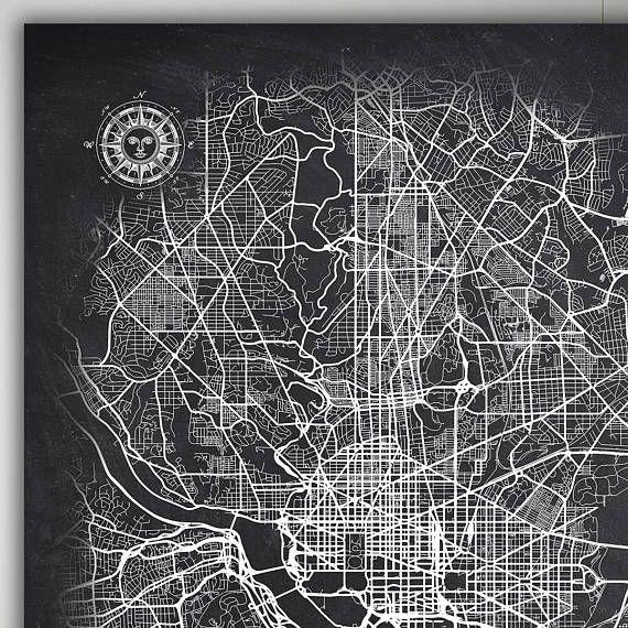 washington dc chalkboard map art black and white washington dc
