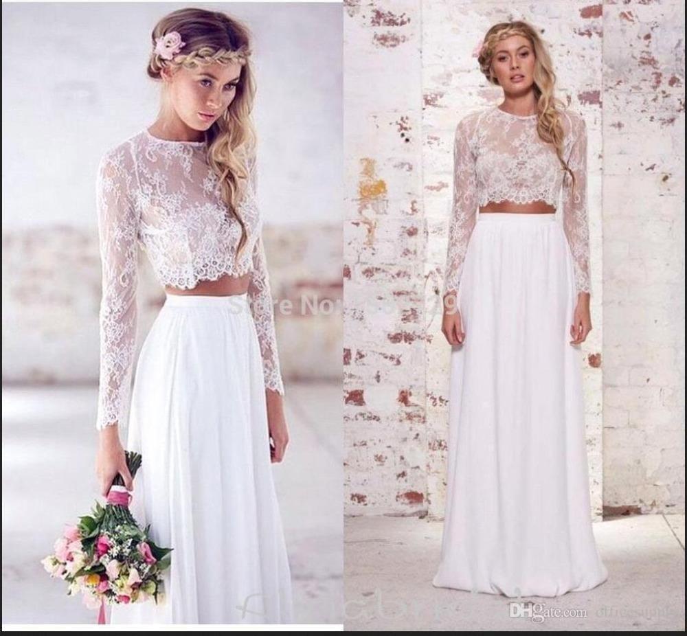 hot sale two pieces crop top bohemian wedding dresses chiffon