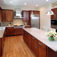Kitchen Backsplash Cherry Cabinets White Counter Mesmerizing Medium Stained Shaker Cabinets With Marble Countertops  Google Review