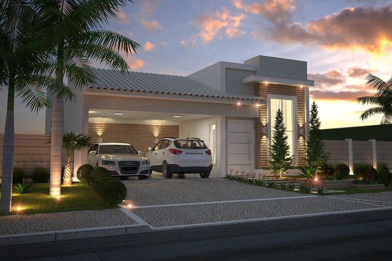 Planta de casa com fachada de tijolinho render for Modelos de casas fachadas