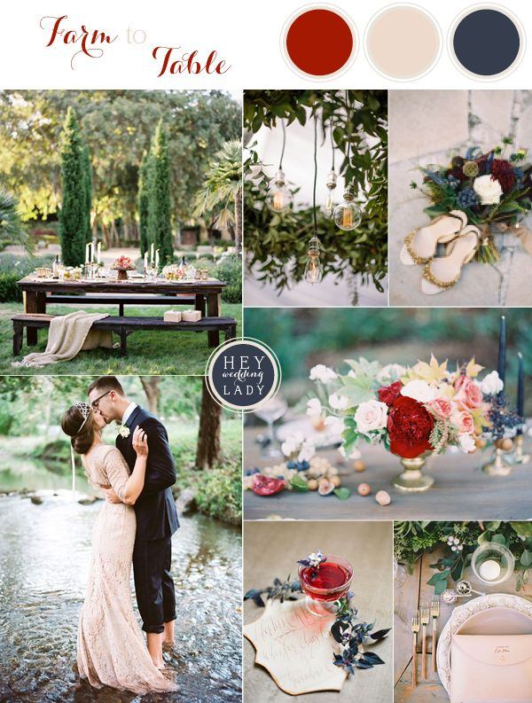 Farm to Table - Luxe Organic Wedding Inspiration in Berry Reds, Deep Blues, and Rich Gold | See More! http://heyweddinglady.com/farm-table-luxe-organic-wedding-inspiration/
