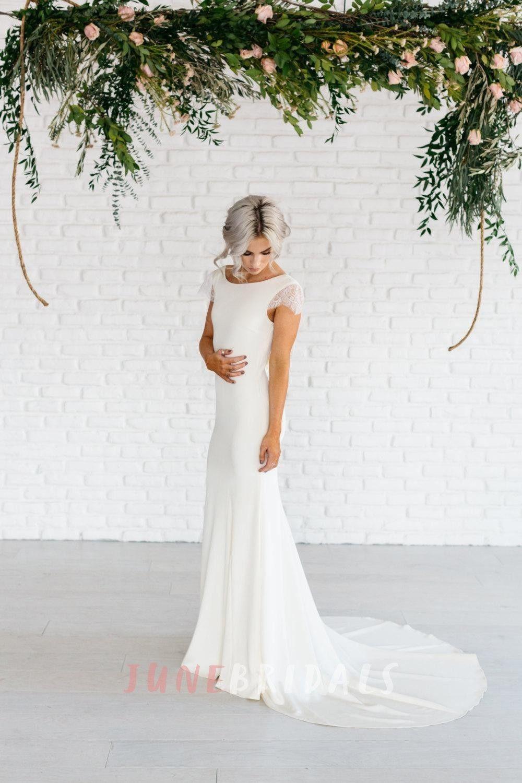 Bateau Neck Lace Cap Sleeve Sheath Satin Dress With Cowl Back Wedding Dress Cap Sleeves Wedding Dresses Satin Wedding Dresses Lace