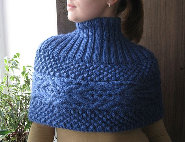 Ravelry: Noyabrina's King Street Cowl. I am thinking of this with a native inspired colorwork where the cable is and deerskin fringe along the bottom. PS