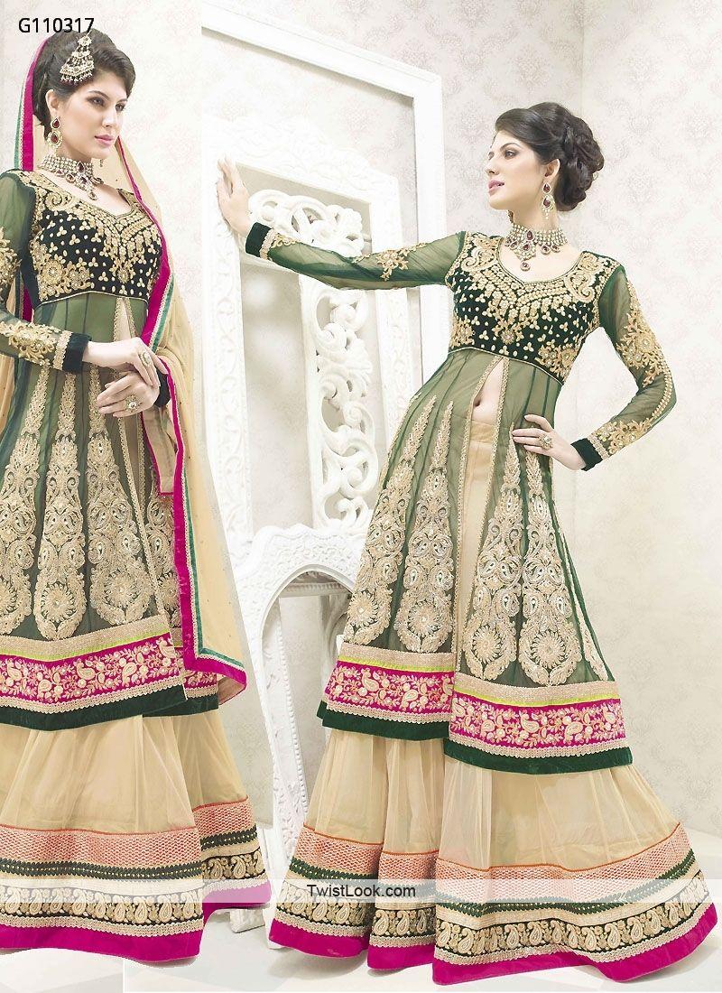 Cream And Green Net Designer Lehenga Choli With Matching Dupatta
