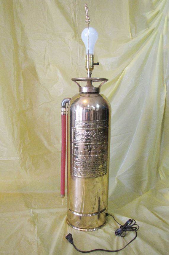 Fire Extinguisher Lamp Light Upcycled Brass Original Art ...