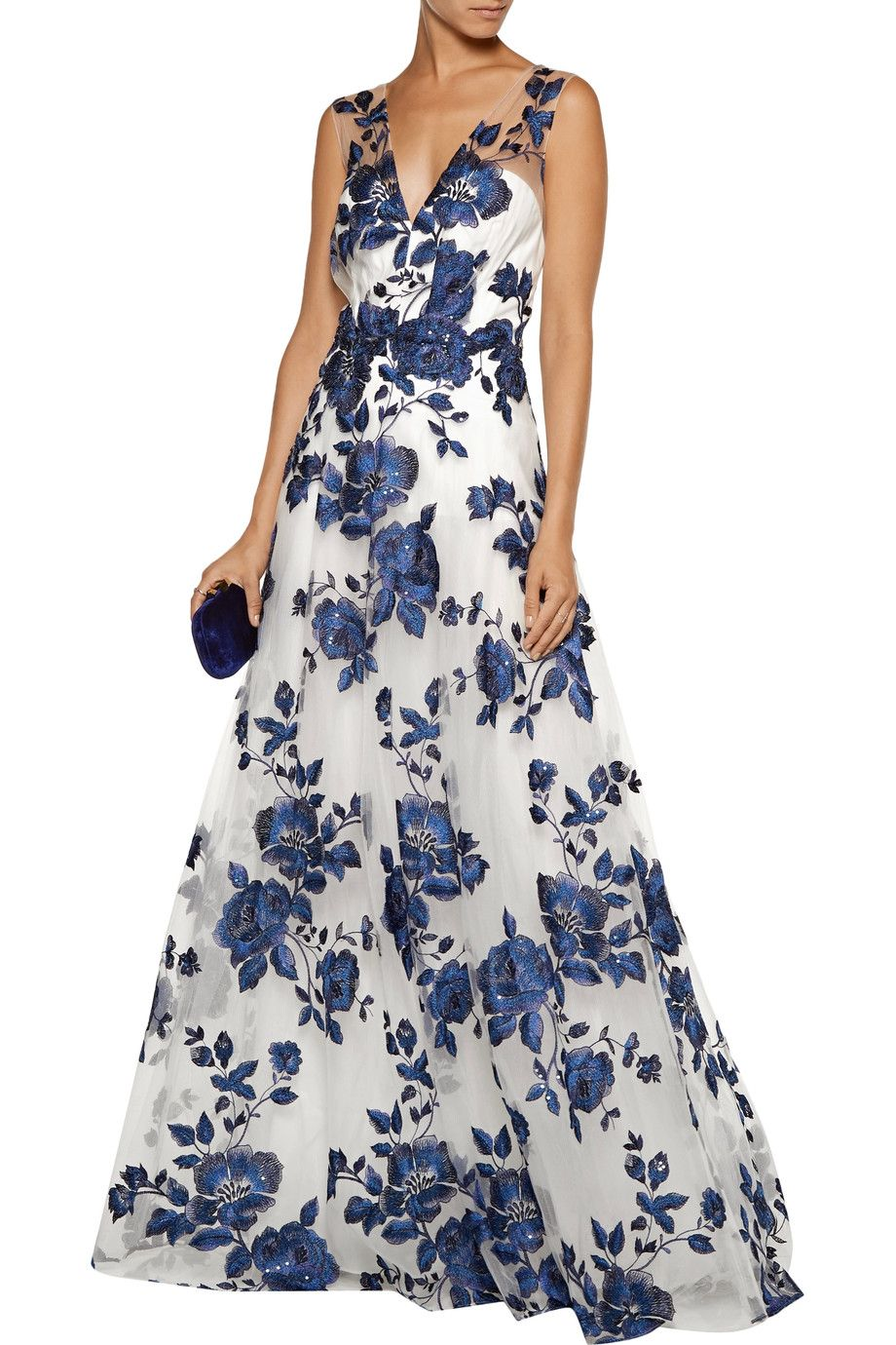 Marchesa Notte 3/4-Sleeve Floral-Embroidered Gown Woman Evening