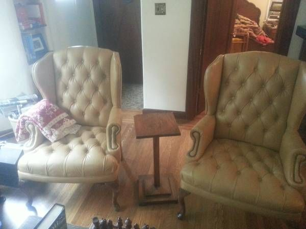 2 matching leather chairs. tufted. - $100 (land park)