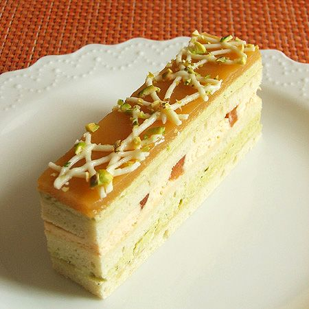 Yum! | Opéra Cake with Apricot Mousse and Pistachio Buttercream | Pretty Tasty Cakes