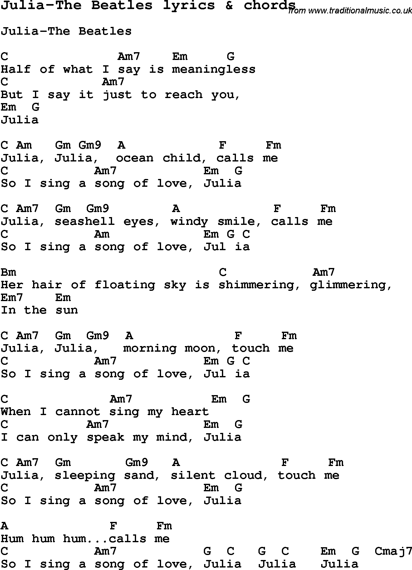 Love Song Lyrics For Julia The Beatles With Chords For Ukulele