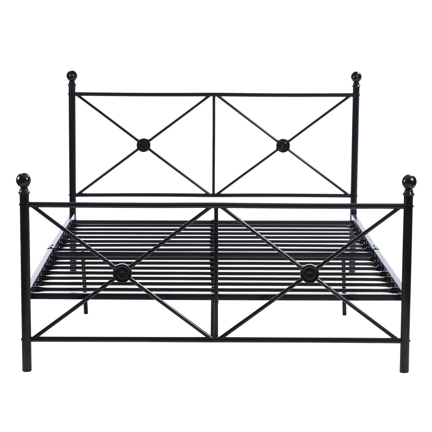 Queen size black metal platform bed frame with headboard and