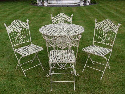 French Ornate Cream Wrought Iron Metal Garden Table and Chairs Bistro  Furniture Set by The Somerset