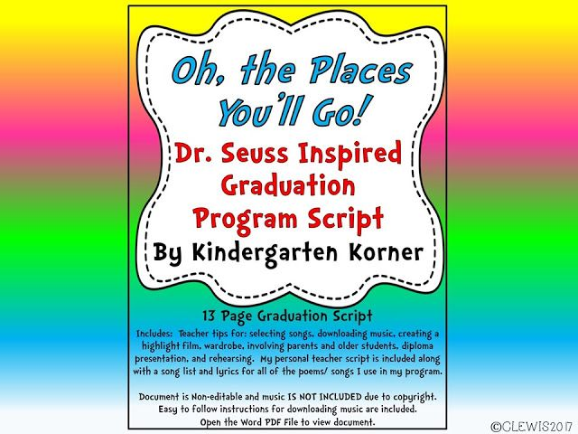 Kindergarten Korner Oh, the Places Youu0027ll Go! Graduation Program - graduation program