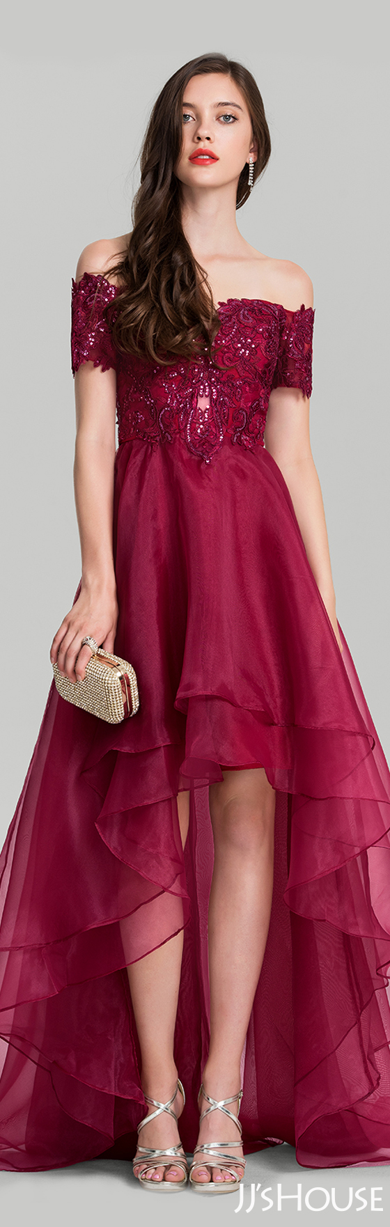 A-Line/Princess Off-the-Shoulder Asymmetrical Organza Evening Dress ...