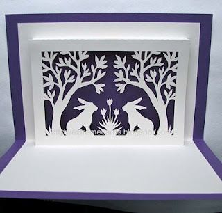Bunnies And Trees Window Pop Up Card Pop Up Card Templates Pop Up Cards Paper Crafts