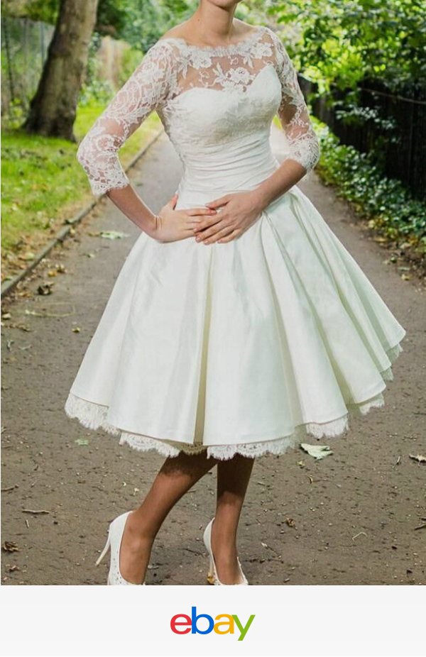 Short 3/4 sleeve Vintage Tea length White Ivory Lace Wedding Dresses ...