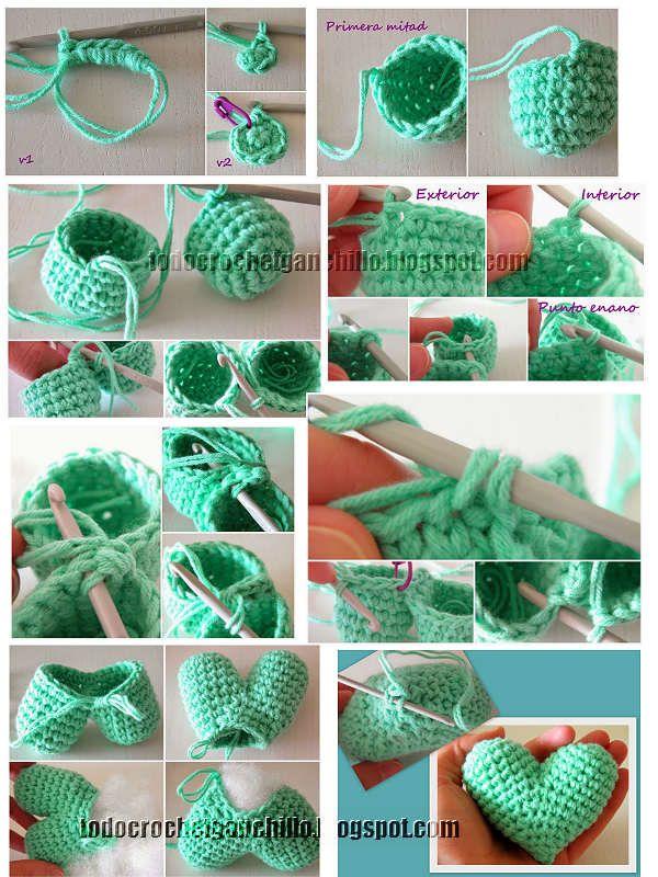 Todo crochet | Pinterest | Llaveros, Cómo tejer y Formas de corazón