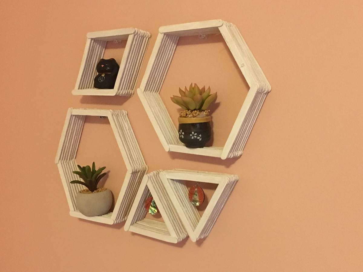 Diy geometric wall shelves shelves easy and patterns for Ideas for building with popsicle sticks