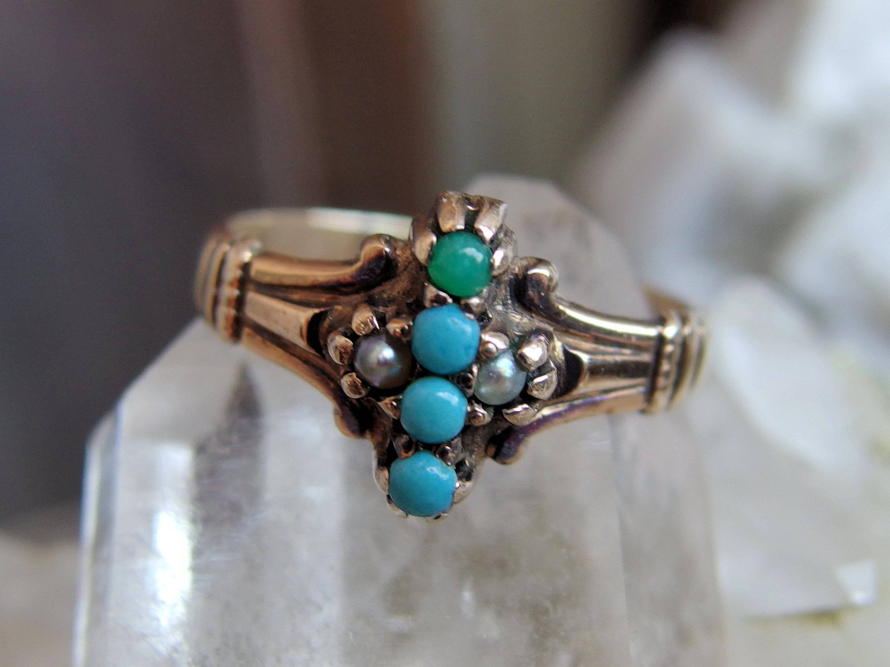 Art deco sterling silver ring turquoise with pearls enamel pearl ring silver