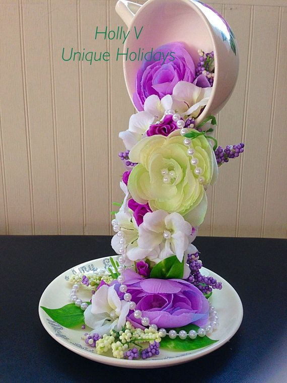 wedding floral topiary cup wedding floral by uniqueholidays crafts pinterest tasses. Black Bedroom Furniture Sets. Home Design Ideas
