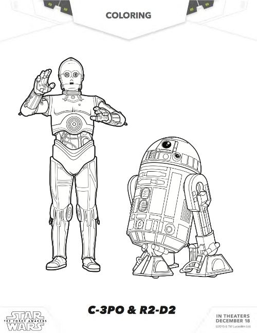 free star wars coloring c 3po r2 d2