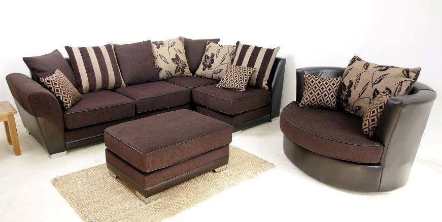 Swivel Chair Sofa Set Plastic Rocking Brand New Modern Vermont Corner Cuddle Brown