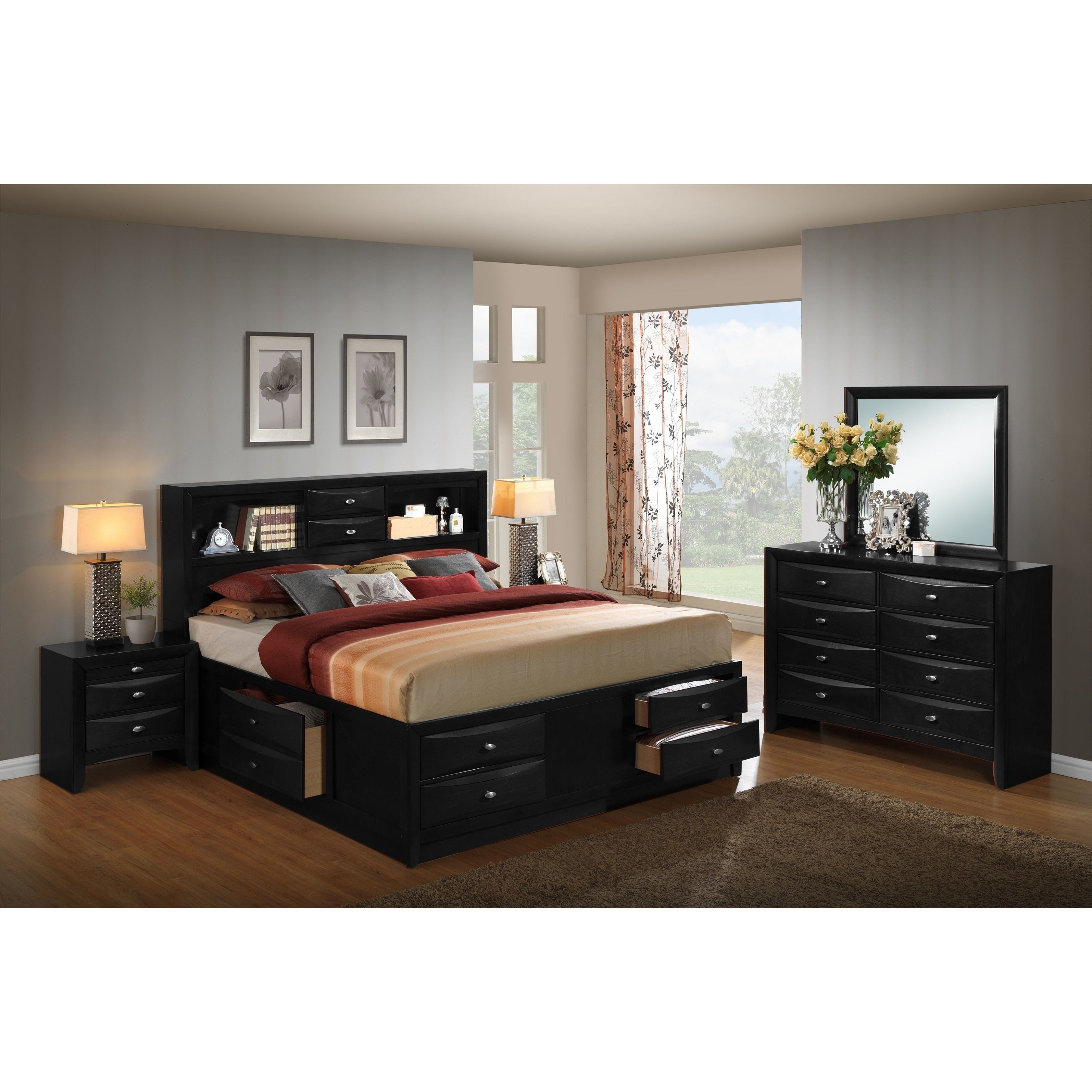 Blemerey black wood storage bed group with king bed dresser
