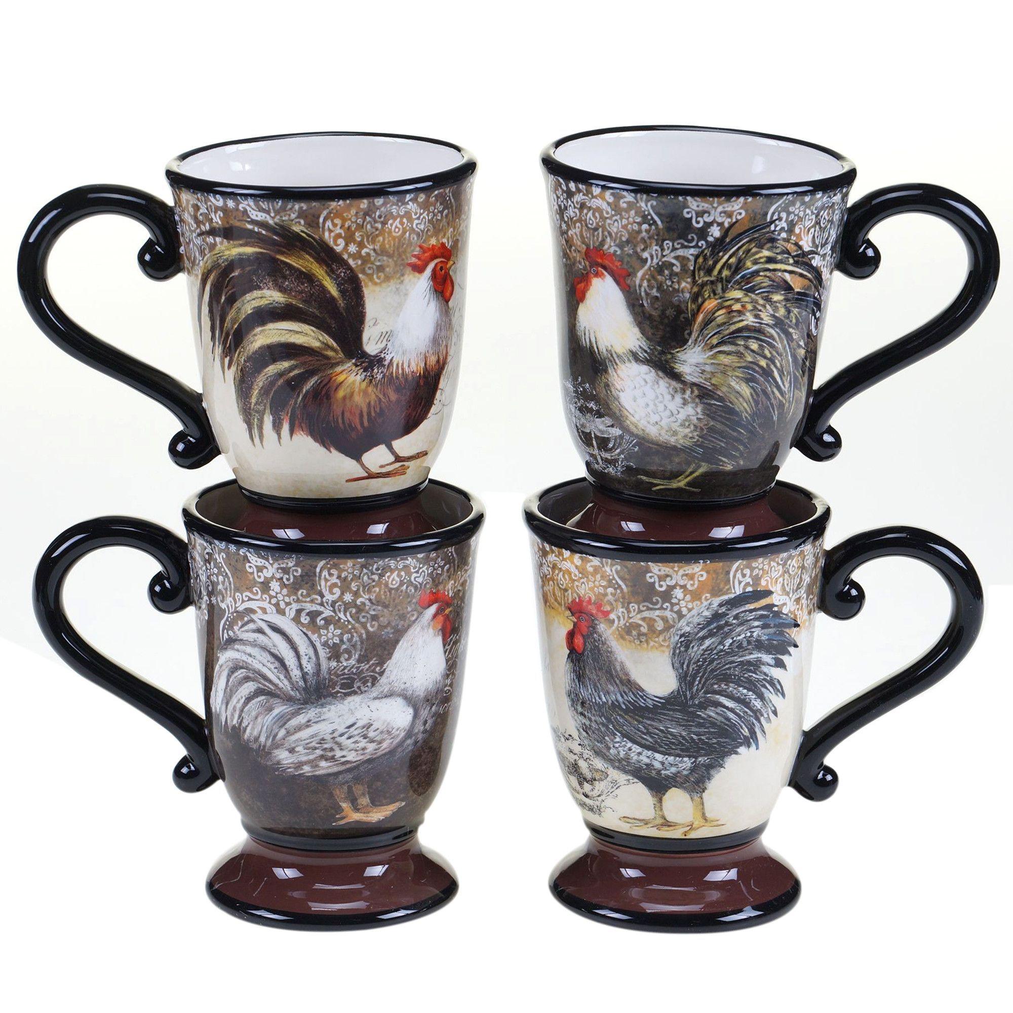 Vintage Rooster 4 Piece Mug Set Mugs set, Mugs, Rooster