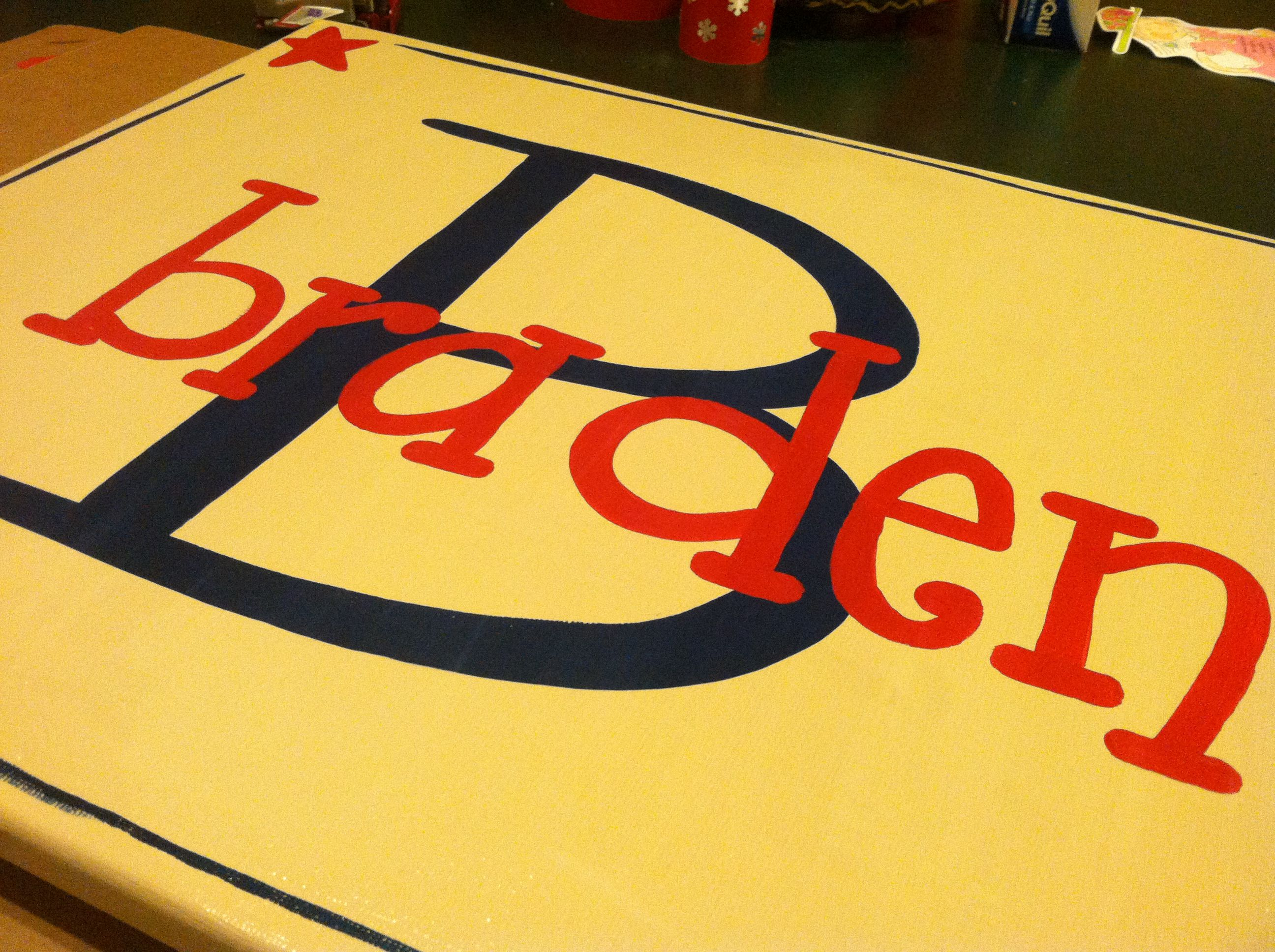 Boys personalized name canvas