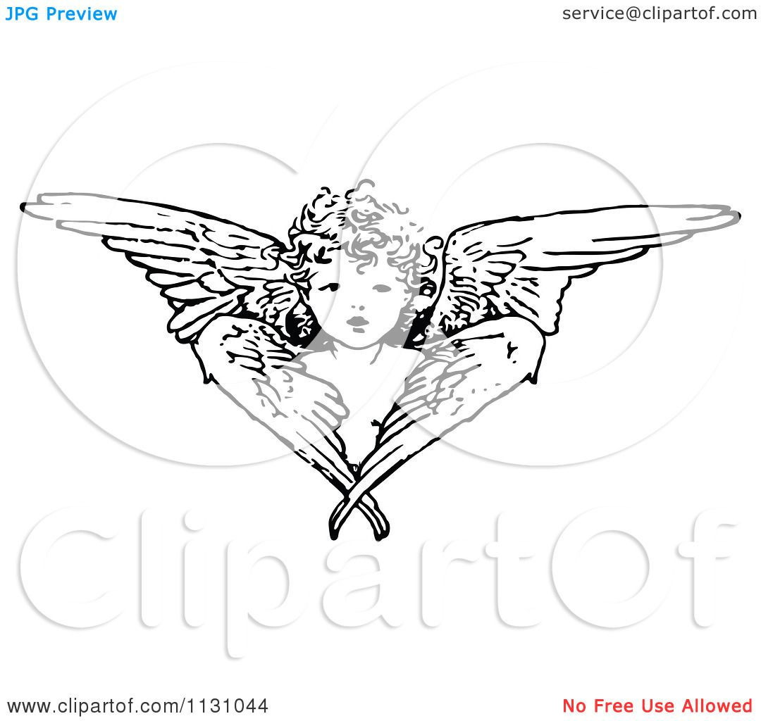 Vintage Angel Clip Art Free Retro Vintage Black And White Cherub Angel And Wings Royalty Free Cartoon Wings Free Vector Illustration Clip Art Pictures