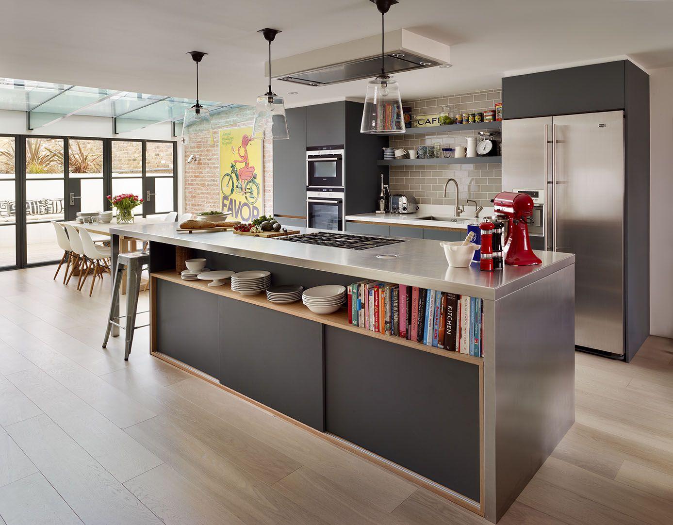 Roundhouse bespoke kitchen furniture matt lacquer Urbo kitchen in Farrow & Ball Downpipe