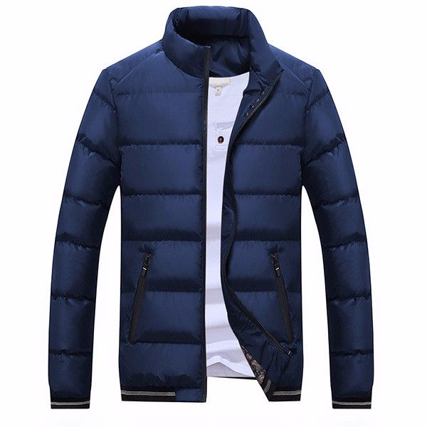 Mens Winter Thick Warm Stand Collar Pure Color Zipper Cotton Padded Jacket at Banggood