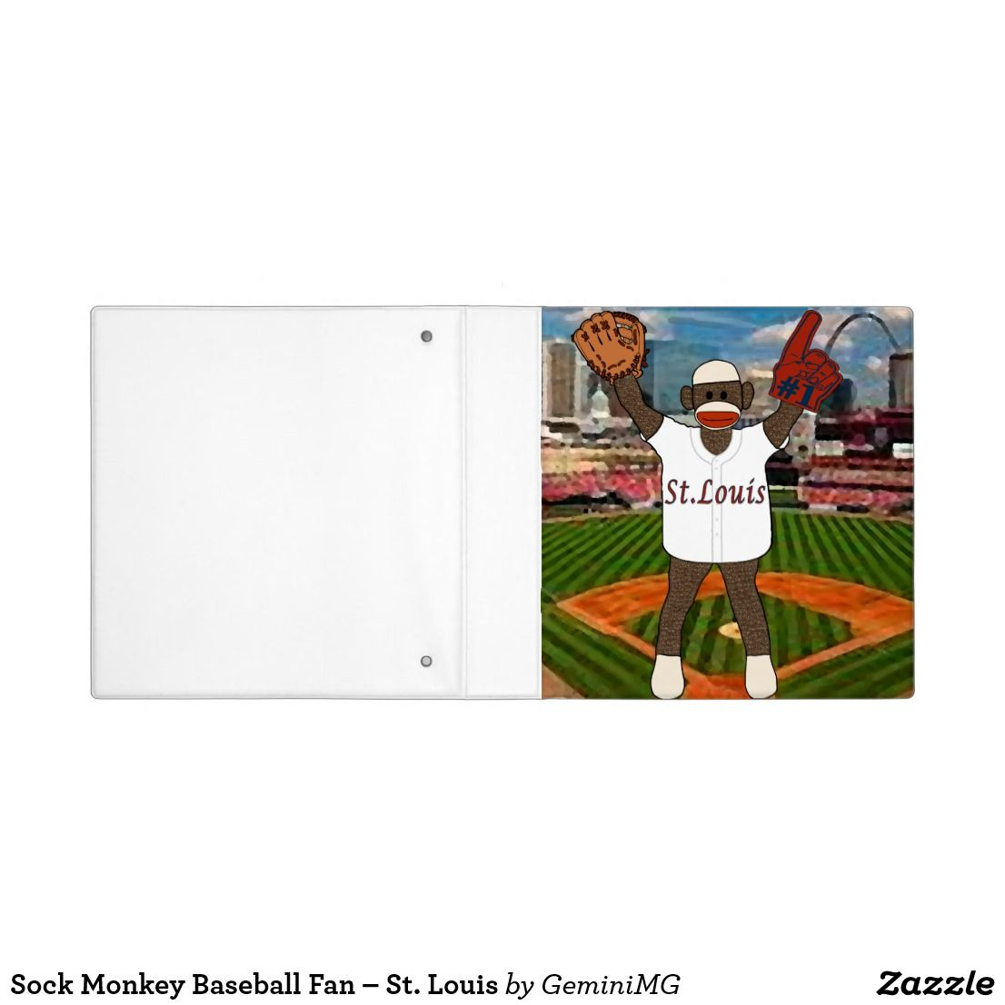 Sock Monkey Baseball Fan – St. Louis 3 Ring Binder | Zazzle.com #sockmoneky