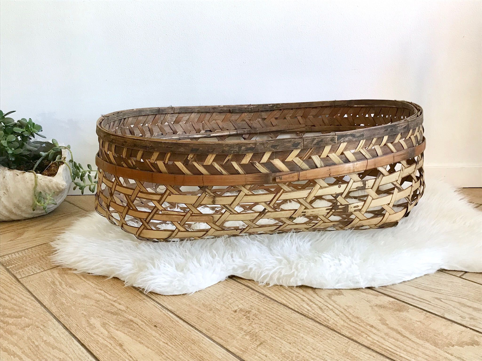 Rare Oversized Basket  Very Large Weave Woven Bamboo Wicker