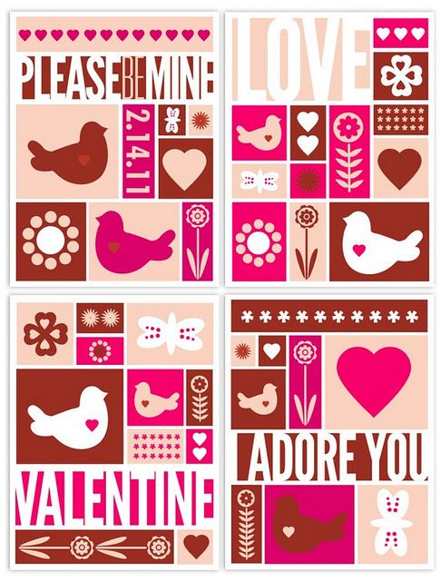 2011 Valentine Sets And Poster With Images Valentines Cards
