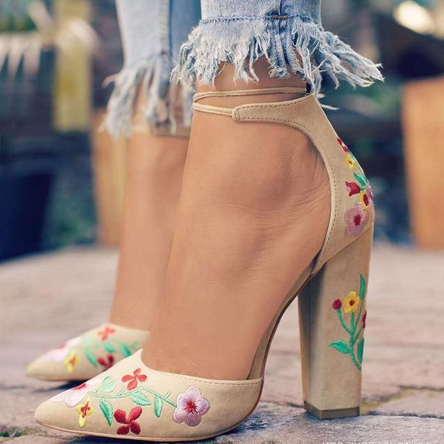 51fc1de53ee2c6 2018 New Flock Embroidered Shoes Women High Heels Sandals Summer Ladies  Ethnic Flower Floral Party Shoes Zapatos Mujer WP1102
