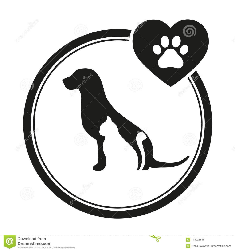 Veterinary Emblem Of A Dog And A Cat Dog And Cat Silhouette Logo For Pet Business Stock Vector Illustration Cat Silhouette Pet Shop Logo Animal Line Drawings