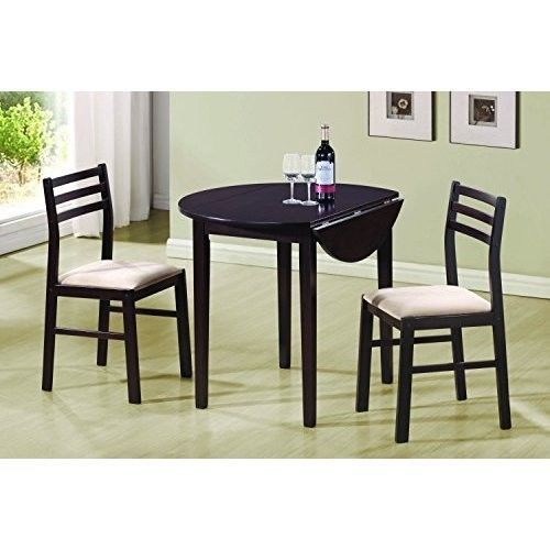 Kitchen Dining Table Set Light 2 Chairs Small E Breakfast Dark Brown