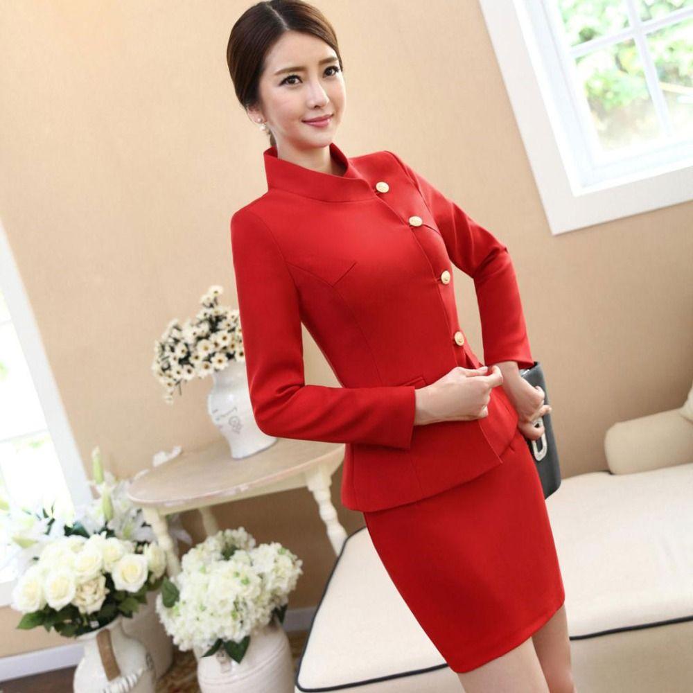 Mujeres otoño e invierno conjunto nuevo 2016 oficina de diseño uniforme  juego Formal ropa de trabajo para las damas chaqueta y Mini falda traje  rojo ... b8729d34dd47