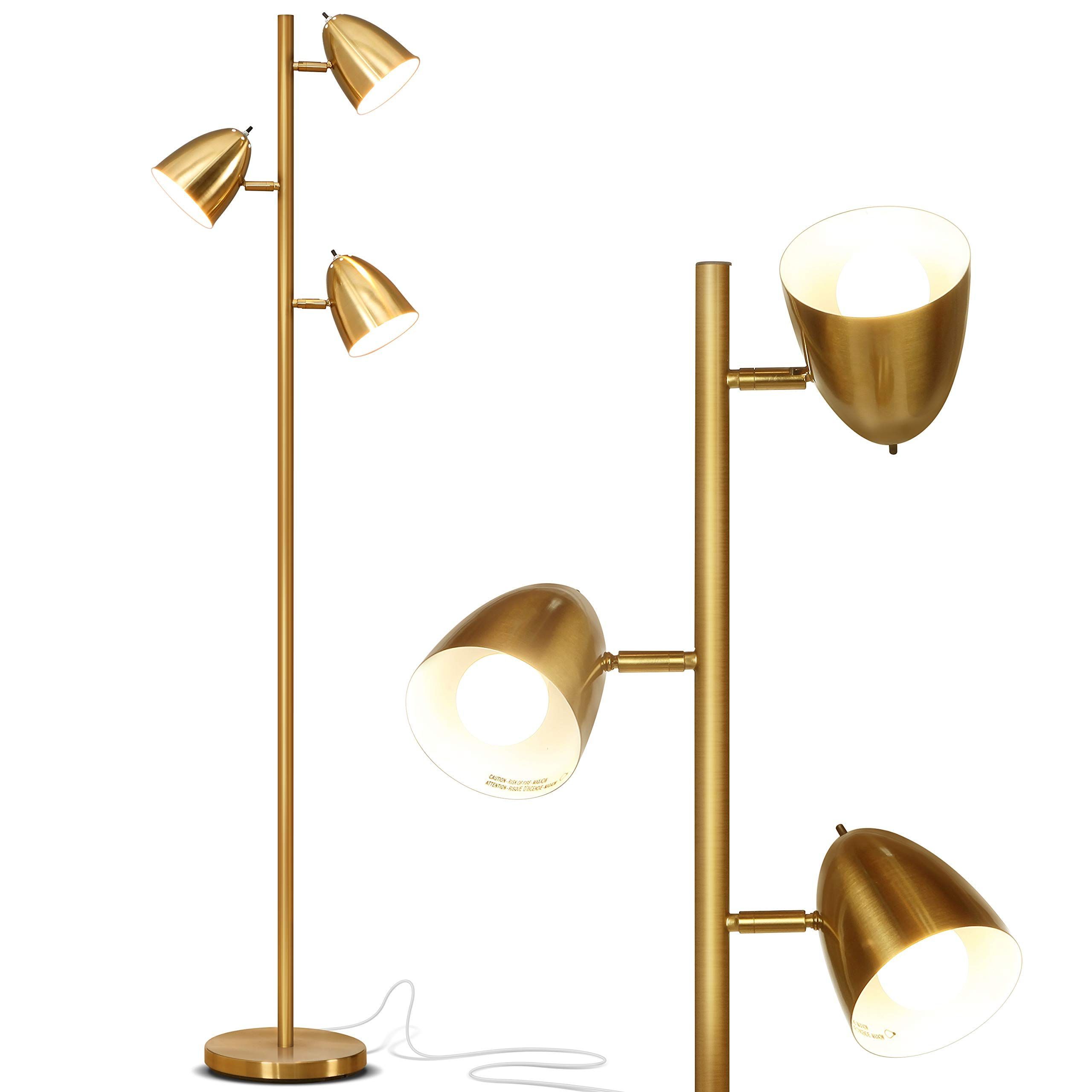 Brightech Jacob Led Reading And Floor Lamp For Living Rooms And Bedrooms Classy Mid Century Modern Adjustable Gold Floor Lamp Pole Lamps Lamps Living Room