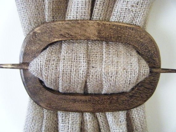 Curtain Holdback Wooden Oval Espresso Black Stained At
