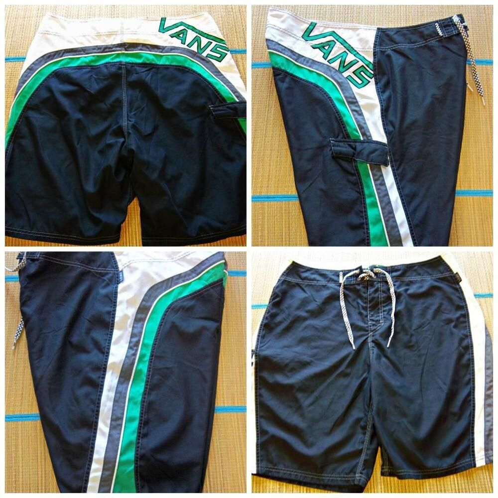 52f55d5c87 VANS Off The Wall Men's Size 38 BOARD SHORTS SWIM TRUNKS Green White  #Ripcurl #BoardShorts