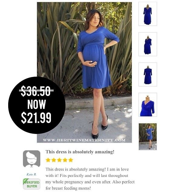 Maternity Wrap Dress In Royal. Super Sale going on now at Heritwine Maternity. www.heritwinematernity.com