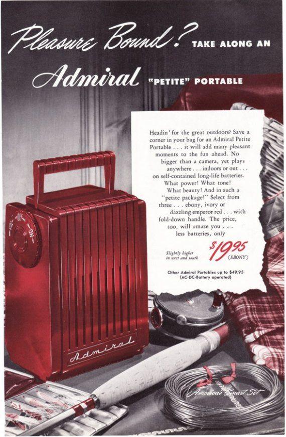 1948 ad Admiral Radio Petite Portable vintage retro entertainment