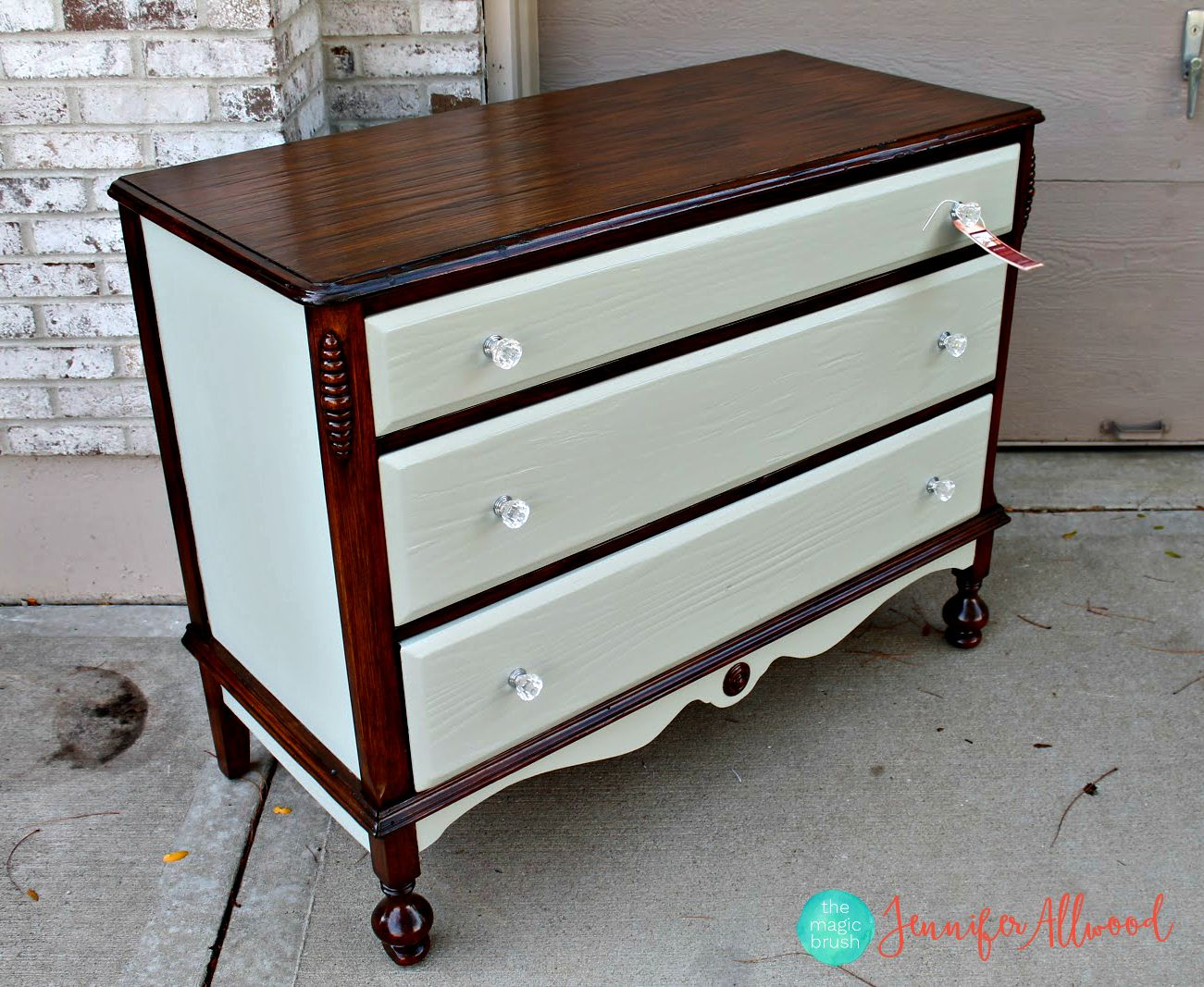 A Lovely Painted And Stained Dresser