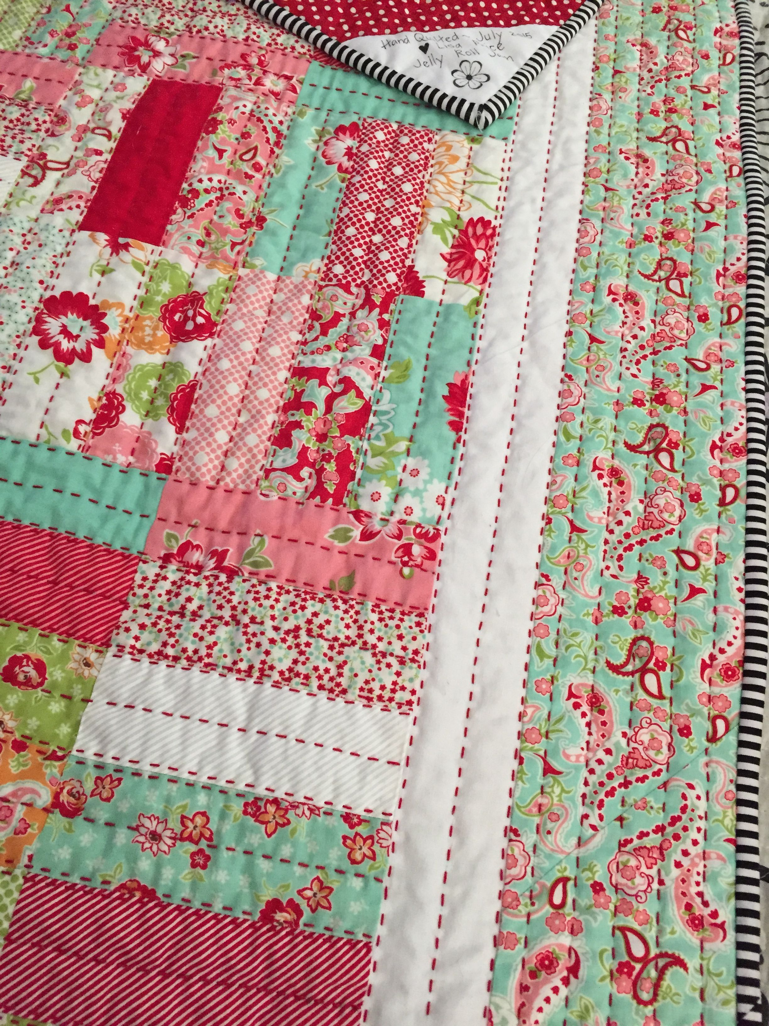 Big stitch using Jelly Roll Jam pattern in Scrumptious fabric by Bonnie & Camille Hand quilted ...