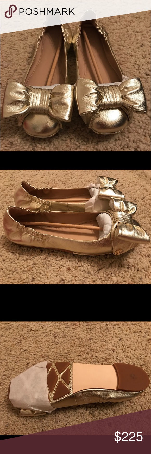 Tory Burch Divine Bow Driver Ballet Beautiful, brand new, in-box, never-been-worn, Tory Burch flats. Metallic Gold. Tory Burch Shoes Flats & Loafers