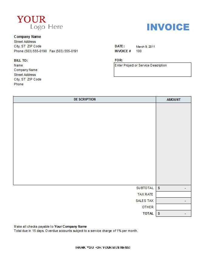 Construction Invoice Template Free invoice Pinterest Template - customer invoice template excel