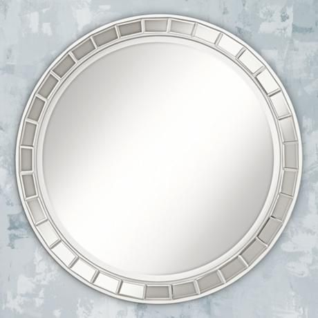 "Kesha Antique Silver Beveled 36"" Round Wall Mirror"