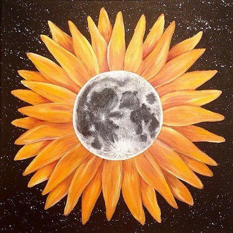 Tattoo Sunflower Moon Flower 27 Ideas Sun Painting Moon Flower Trippy Painting